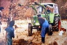 Wolf Büntig als Baggerfahrer bei Bauarbeiten